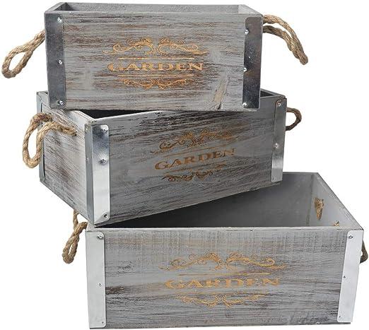 Hogar y Mas Caja de Madera Decorativa Vintage, Caja Almacenamiento ...