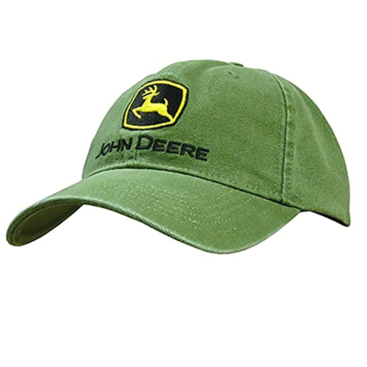 58f3f3375d646f Amazon.com: JOHN DEERE HEAVY WASHED CANVAS & EMBROIDERED LOGO CAP ...