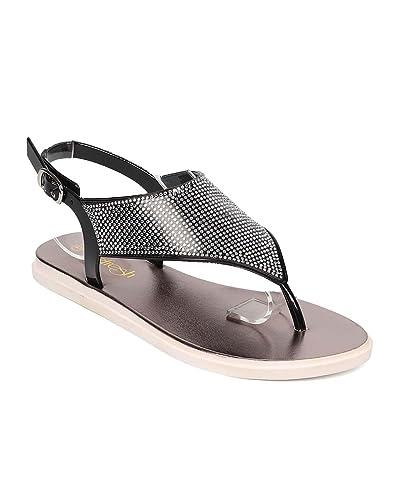 1cd0b6b5c Women PVC Rhinestone T-Strap Thong Slingback Flat Sandal EI69 - Black (Size