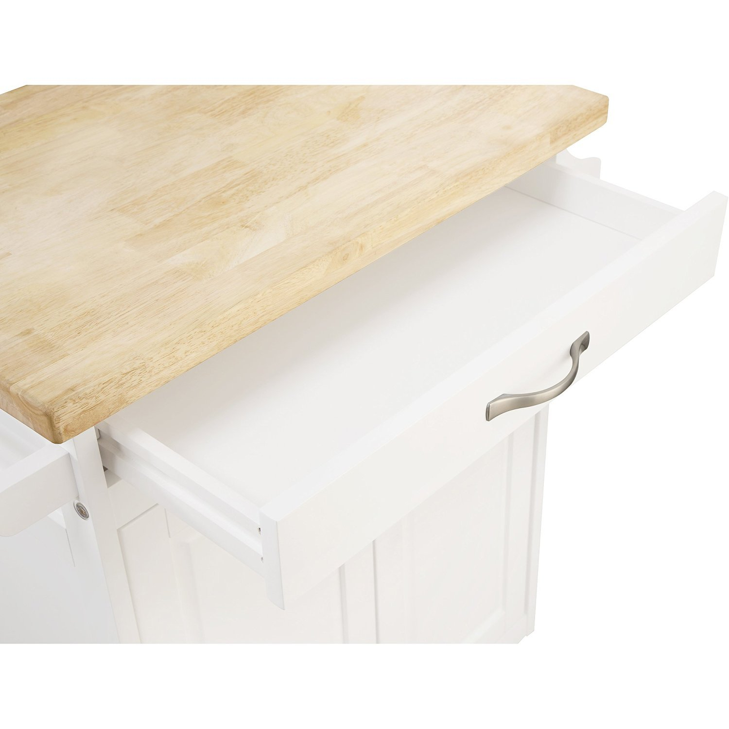 Kitchen Cart Rolling Island Storage Unit Cabinet Utility Portable Home Microwave Wheels Butcher Wood Top Drawer Shelf (White) by Mainstay (Image #4)