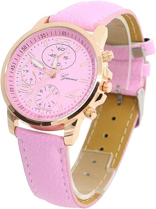 Reloj de pulsera - Geneva Reloj de pulsera unisex de cuero de imitacion de color rosado