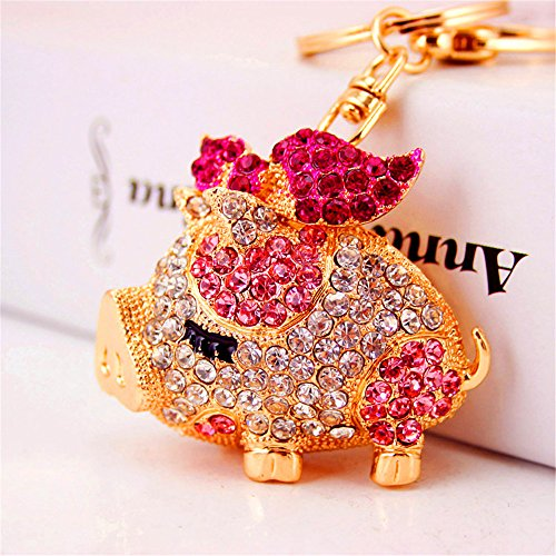 Bling Beauty Fashion Novelty Gifts Trinket Rhinestone Cute Bow Pig Keychain,Charm Gold Plated Women Bag Pendant Keyring (Pink) -
