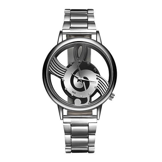 Moda Lujo Nota Musical Hueco Decorative Dial Correa de Aleación Cuarzo Hombres Mujer Reloj de Pulsera, Plateado: Amazon.es: Relojes