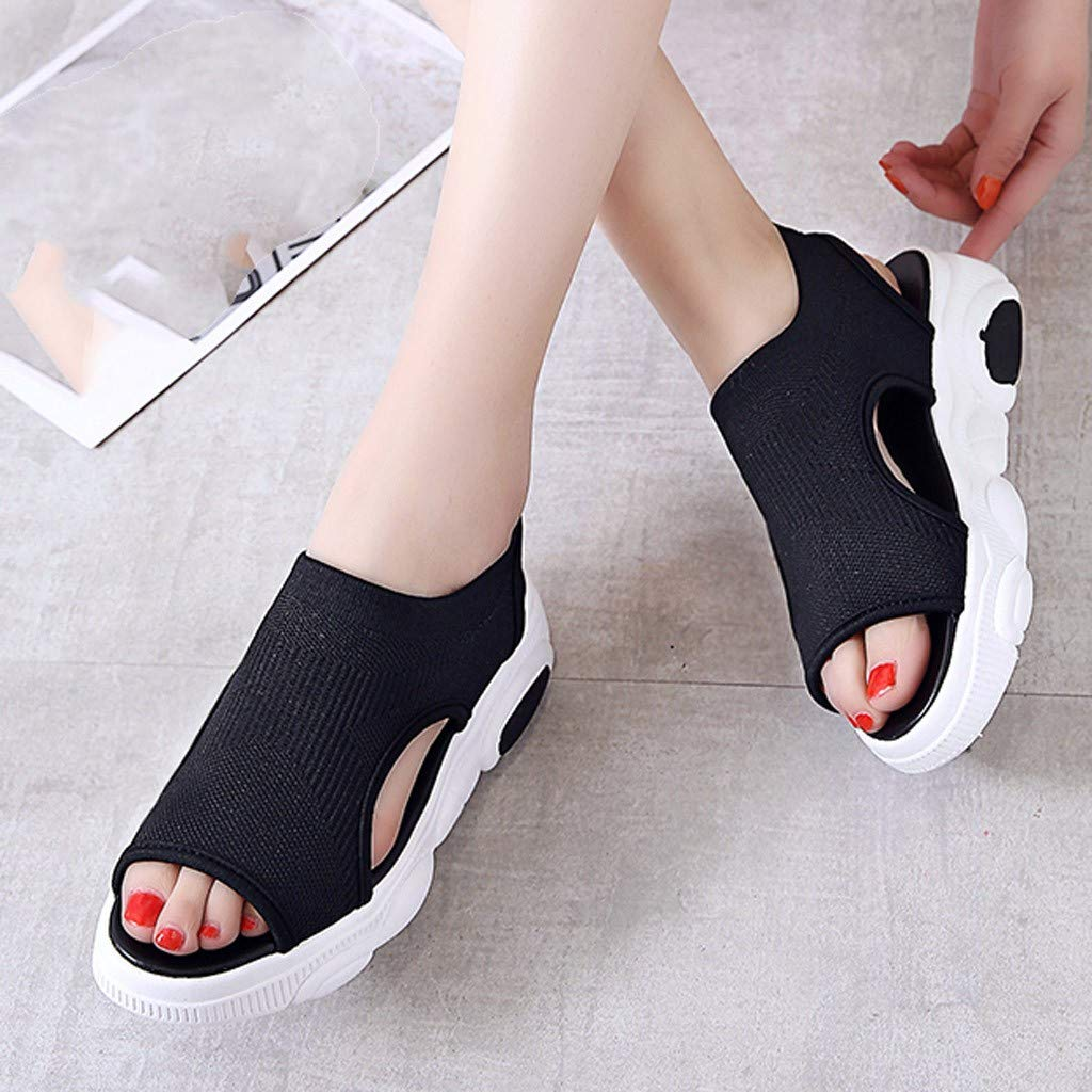 Sllve-hive Womens Casual Muffin Sandals Breathable Mesh Peep Toe Velcro Shallow Mouth Walking Shoes