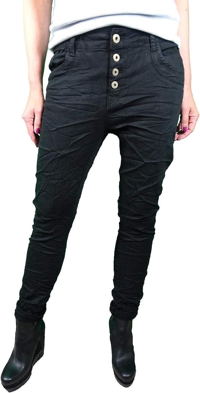 Karostar by Lexxury Denim Stretch Baggy-Boyfriend-Jeans Boyfriend 4 Knöpfe offene Knopfleiste weitere Farben Tiefschwarz