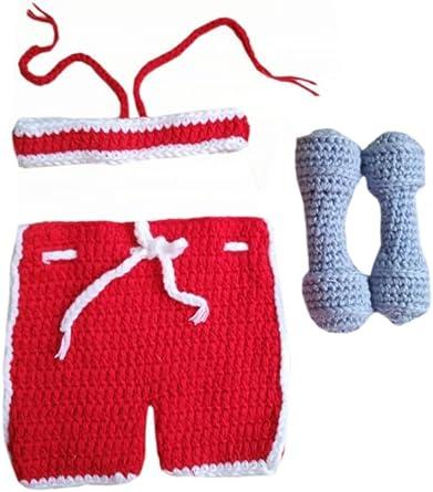 Crochet newborn shorts and barbell weight set photo prop