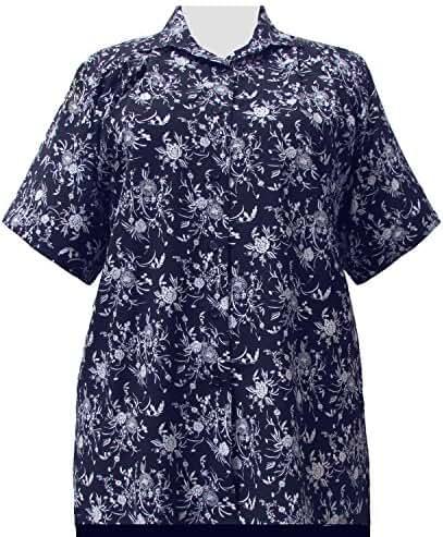 Navy & White Wildflowers Short Sleeve Tunic Plus Size Women's Blouse