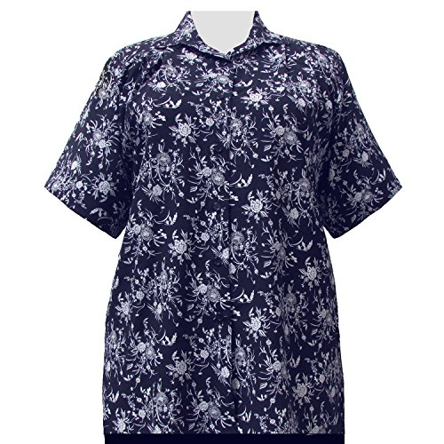 A Personal Touch Women's Plus Size Navy & White Wildflowers Short Sleeve Button-Down Blouse - 6X