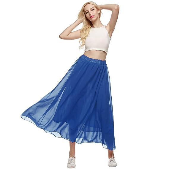 e6f13d7949b6 ACEVOG Women Pure Color Stretched Waist Chiffon Long Skirts Flowy Half  Dress Blue S