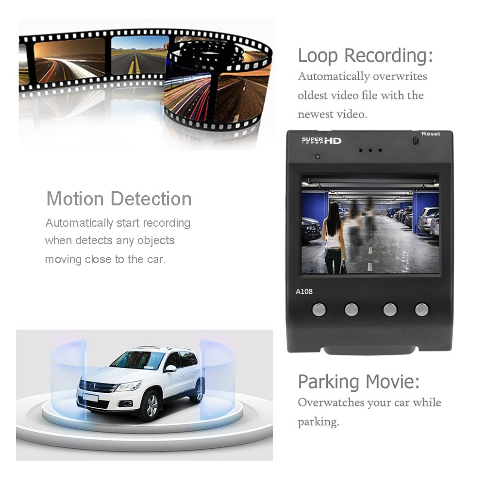 Dash Cam, Senwow Car Camera (32GB SD Card Included) 1296P Super HD Video Recorder 170° Wide Angle Dashboard DVR Camcorder Built-In ADAS LDWS FCWS G-Sensor WDR Loop Recording Night Vision Parking Guard