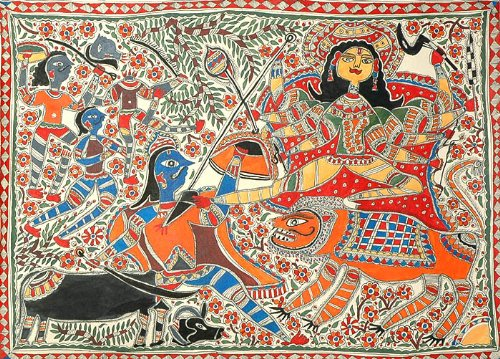 Exotic India Mahishasur Mardini Mother Goddess Durga - Madhubani Painting On Hand Made Paper - Folk