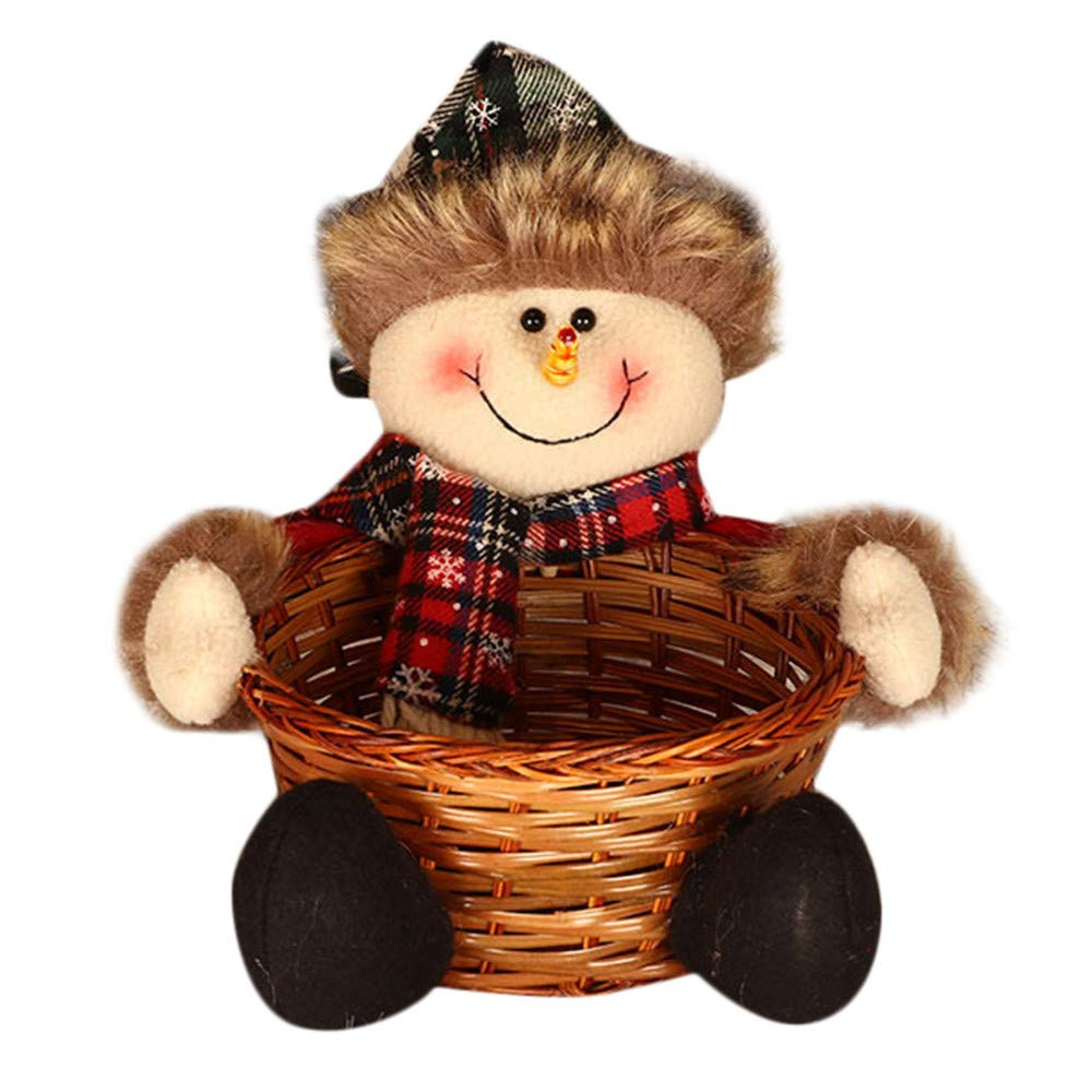 Christmas Candy Storage Basket IEason Christmas Candy Storage Basket Decoration Santa Claus Storage Basket Gift (A)