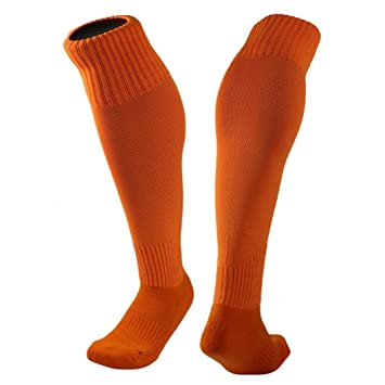 Clode® Mezcla de hilados de algodón y Nylon medias hombres mujeres fútbol calcetines sólidos Color opcional (Naranja): Amazon.es: Deportes y aire libre