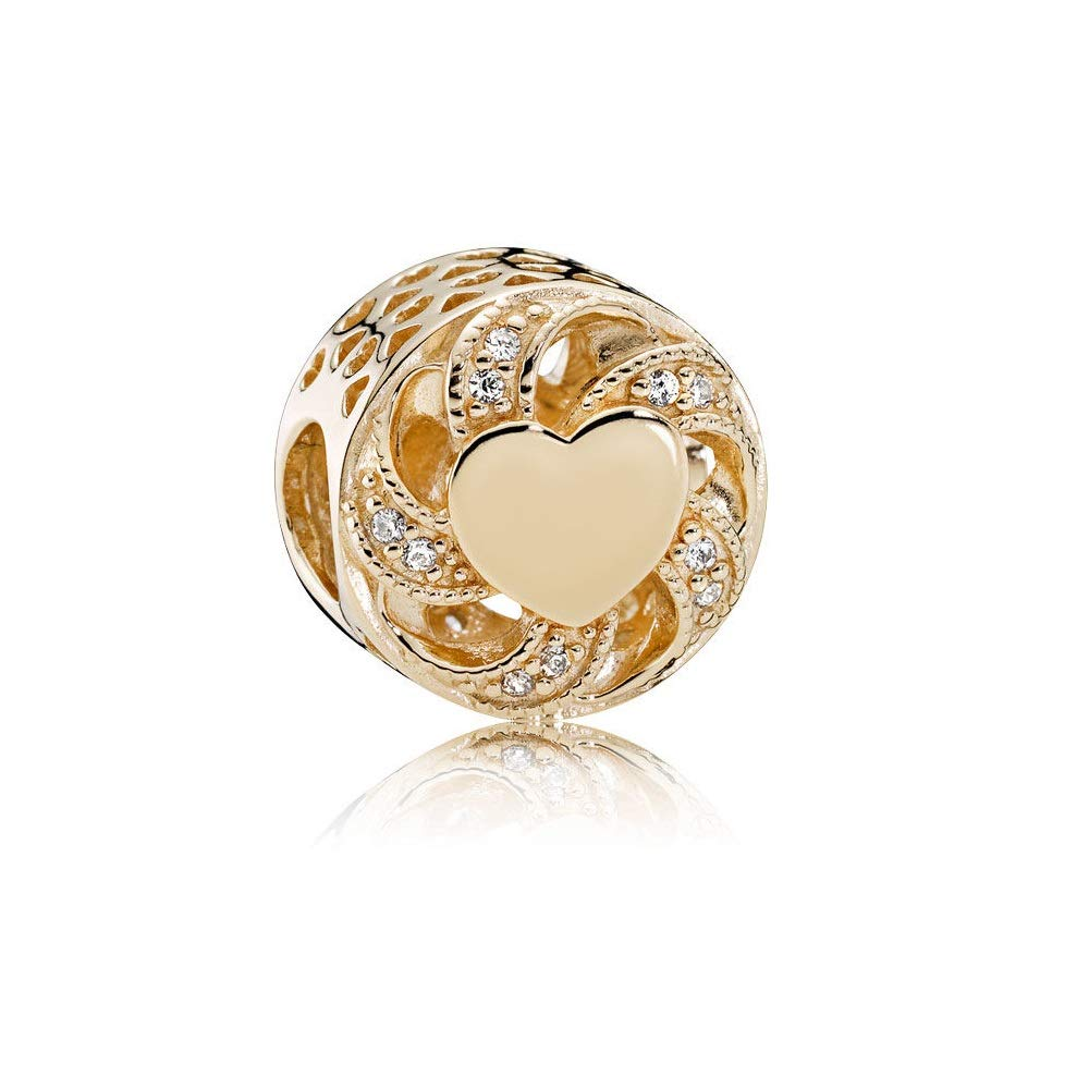 Pandora Ribbon Heart Openwork Gold Charm & Clear Cubic Zirconia 751004CZ