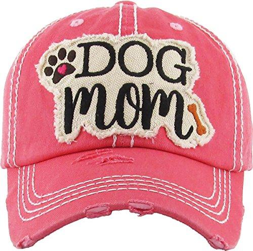 H-212-DM52 Distressed Baseball Cap - Dog Mom (Coral)