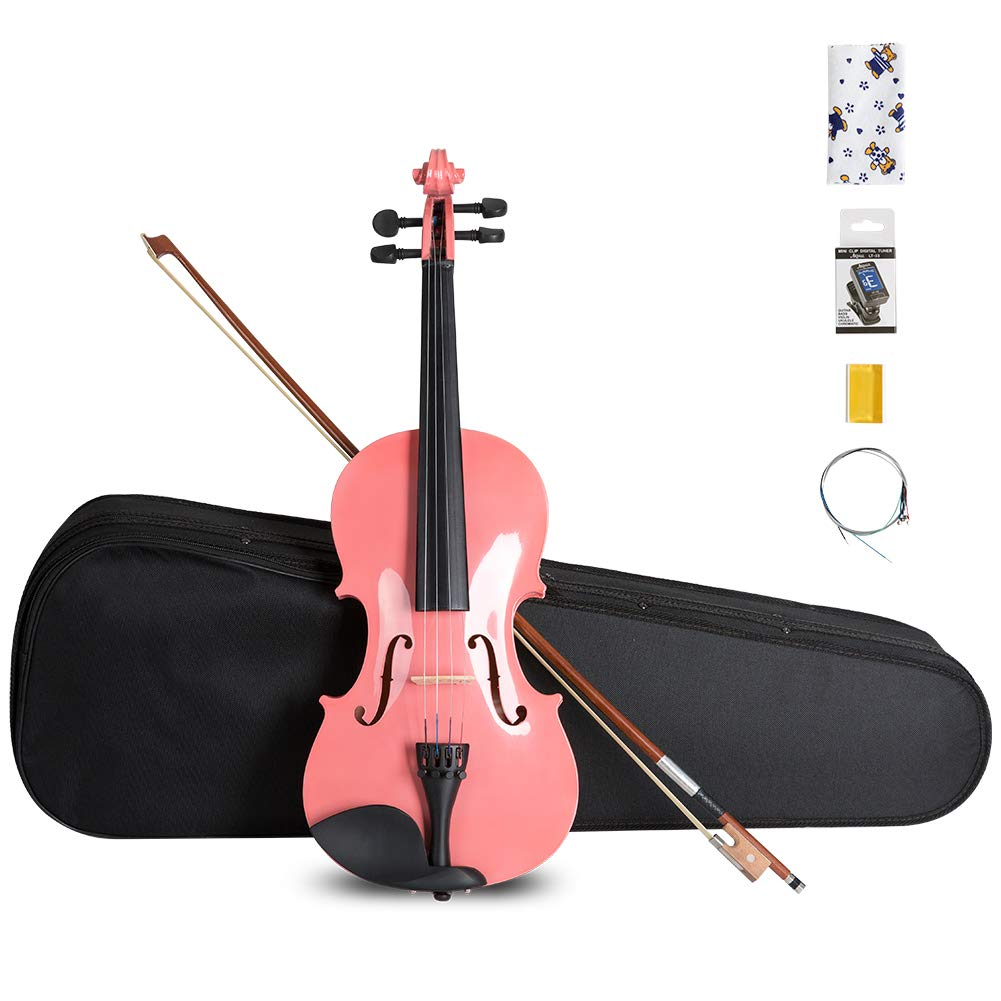 ARTALL 4/4 Handmade Student Acoustic Violin Beginner Pack with Bow, Hard Case, Chin Rest, Tuner, Spare Strings, Rosin and Bridge, Glossy Pink
