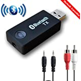 Bluetooth Transmitter, QOFOWIN 3.5mm Portable Stereo Audio wireless Bluetooth audio Transmitter for TV, iPod, MP3/MP4, USB Power Supply (.bluetooth tansmitter)