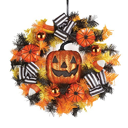 Jack O Lantern Halloween Wreath with Candy Corns and Bows, Fron Door, Outdoor or Indoor Décor - Jack O-lantern Wreath