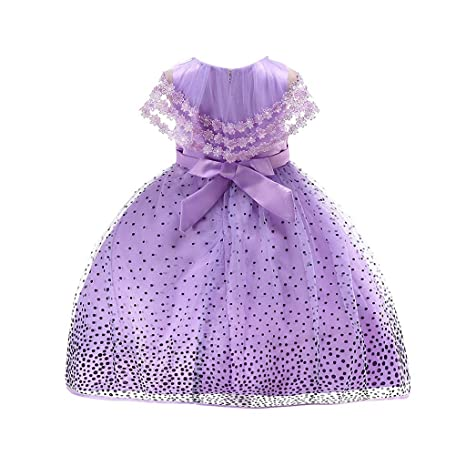 feiXIANG Bebé recién Nacido Ropa para niña Vestido de niña Vestido de Encaje con Estampado de