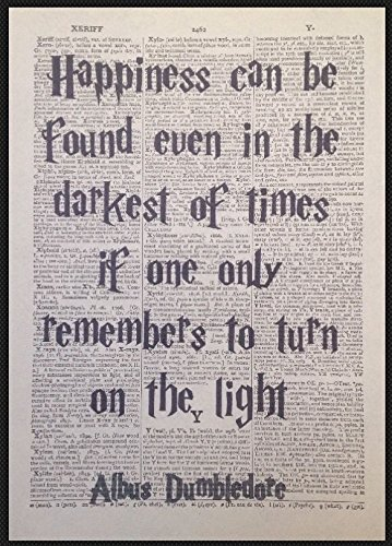 Dumbledore Quote Harry Potter Vintage Dictionary Print Picture Art Happiness Quirky Cool Funky (Quirky Art Prints)