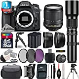 Holiday Saving Bundle for D7100 DSLR Camera + 18-105mm VR Lens + 500mm Telephoto Lens + Backup Battery + 1yr Extended Warranty + Ultra Fast 16GB Class 10 + Case + T-Mount - International Version