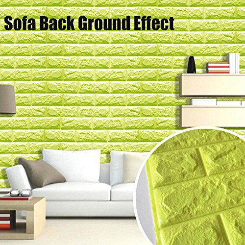 Green Color Foam Wallpaper Sticker For Boys Room Wall Decor, POPPAP 3D Foam Brick Panel Peel And Stick Wallpaper Self-adhesive Removable Wall Paper for TV Background, Children Room, Bedroom/ 20 PACK by POPPAP (Image #8)