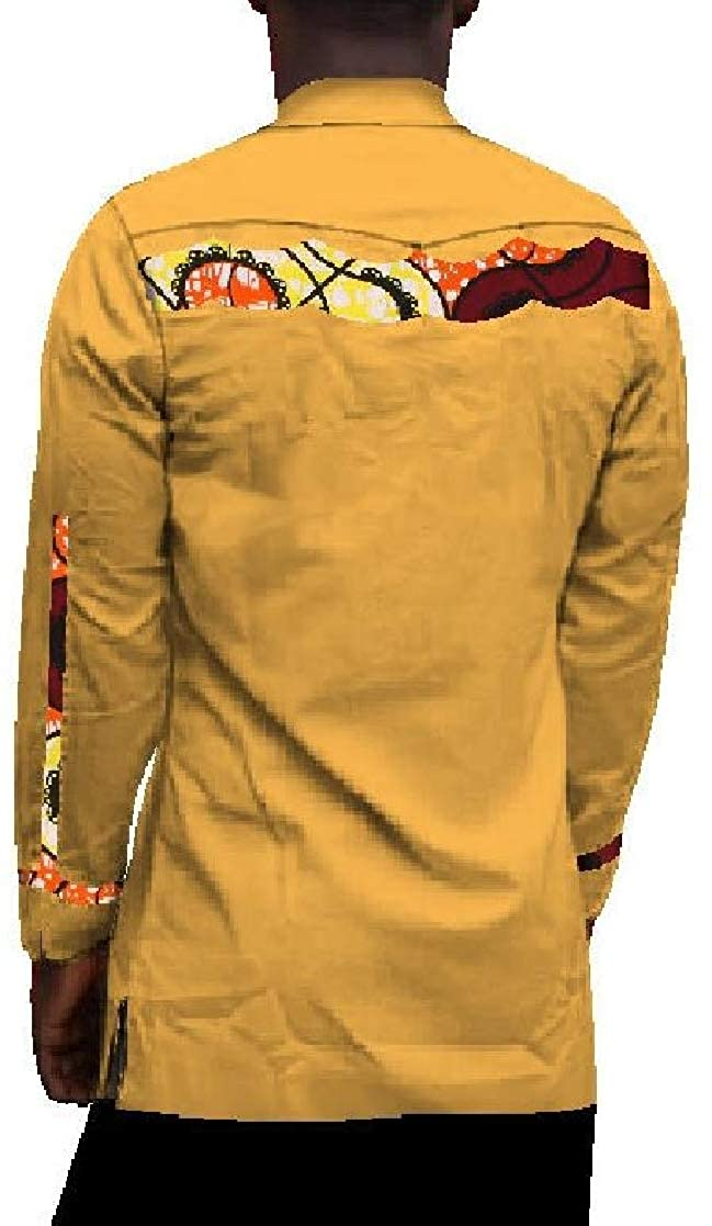 YUNY Mens African Dashiki Stand Up Collar Printing Long-Sleeved Cotton Pullover Tshirt Top 1 5XL