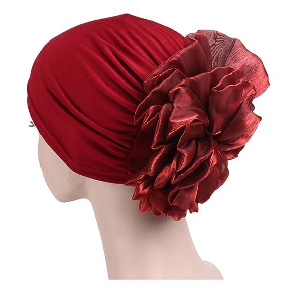 Haarschutz Boboder Frauen Beanie M/ütze Weiche Gro/ße Blume Chemo Cap Elastic Turban Head Wrap Headwear f/ür Haarausfall