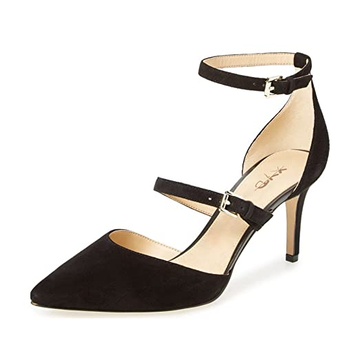 Amazon.com | XYD Sexy Pointed Toe Evening Pumps Ankle Strap Mid ...