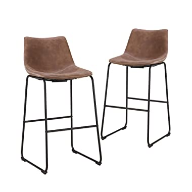 LCH 29 Inch Vintage Metal Bar Stools - Set of 2 Wear-Resistant Fabric Barstools with Durable Frame and Floor Protector, Brown