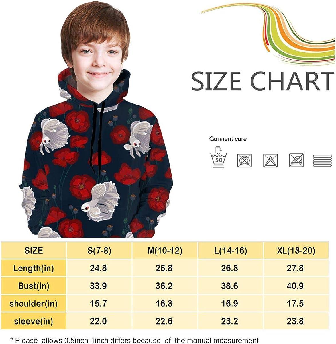 Lichenran Bettas and Poppies Men 3D Print Pullover Hoodie Sweatshirt with Front Pocket
