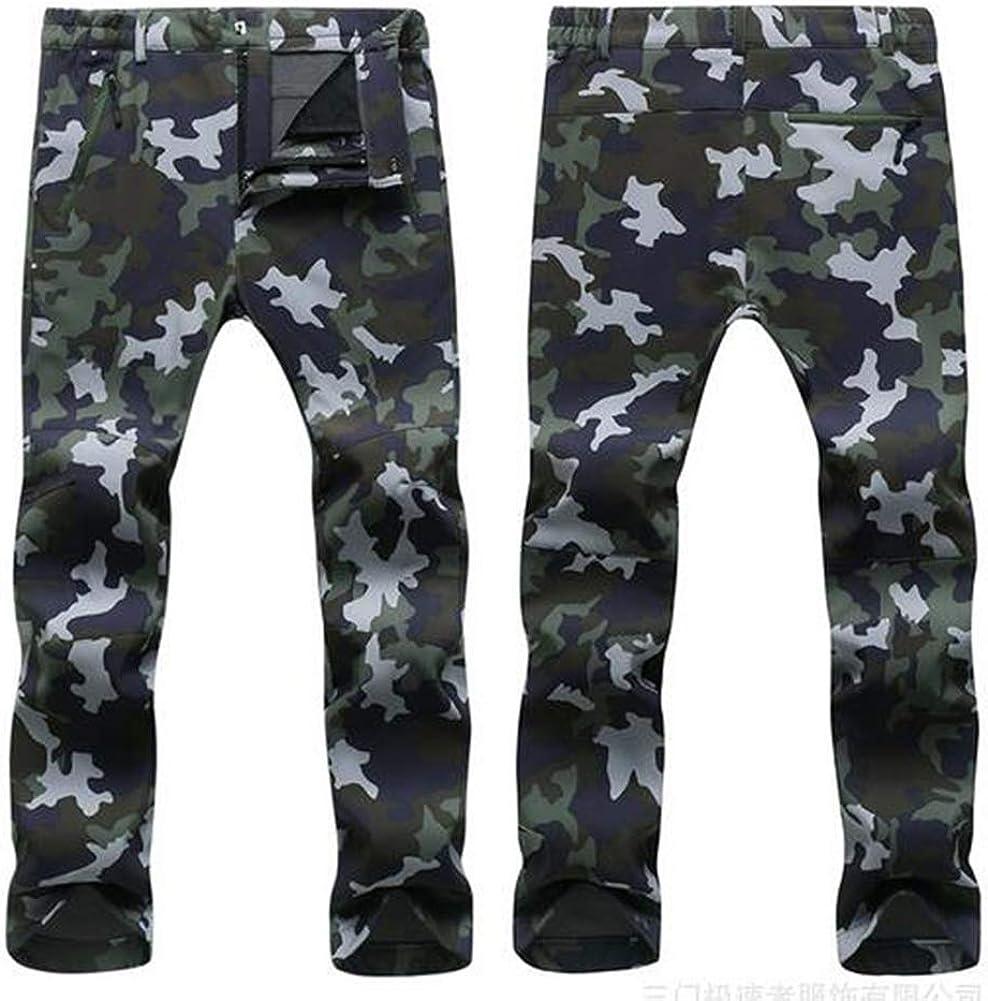 Cayuan Pantalones de Softshell Hombre Mujer Trekking Escalada Pantalon Lana Forrado Impermeable Resistente Caliente Pantalones Al Aire Libre