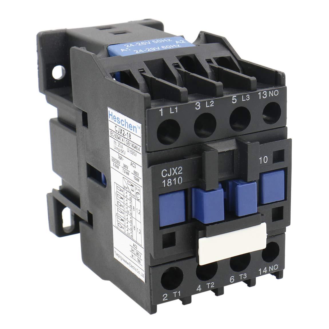 Heschen Contactor AC CJX2-1810 24V 50/60Hz Bobina 3P 3 polos normalmente abierto 660V 25A