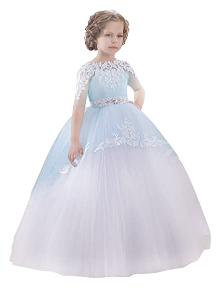 e088898cb3 Princhar Tulle Flower Girl Dress Junior Bridesmaids Dress Little Girl Dress  US 6M Blue