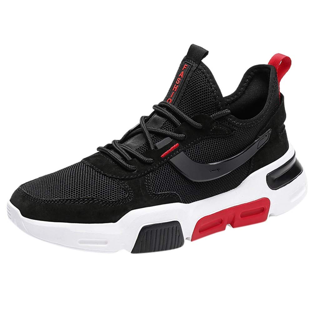 Men Mesh Breathable Sneakers Non Slip Running Shoes Athletic Sport Shoes Comfortable Lace Up Walking Shoe By Lmtime(Black,39)