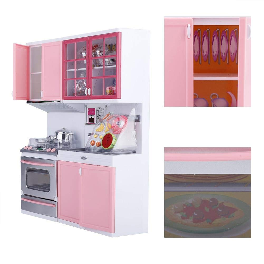 Funny Kitchenware Playing House Gifts with Lights and Sound Design for Kids Girls Mini Pink Modern Cooking Set Role Play Cookware Set SOULONG Pretend Kitchen Play Toy