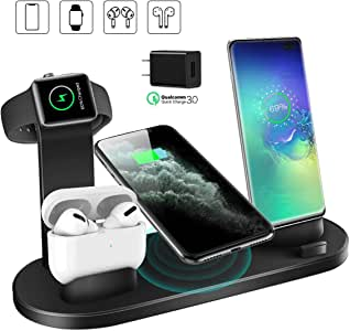 Wireless Charger, QI-EU 4 in 1 Qi-Certified Fast Charging Station for iWatch AirPods Pro, Wireless Charging Stand Compatible for iPhone 11/11Pro/11Pro Max/XR/Xs/Xs Max/X/8/8Plus Samsung Galaxy Huawei