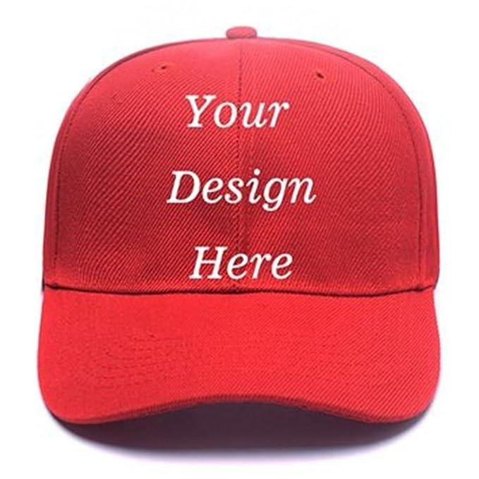6d06a79ebbb Pet pavilion Custom Personalized Adjustable Baseball Cap Design or Text  Print Unisex Mens Womens Hip Hop Hat Knit Beanie Caps (Red)  Amazon.ca   Clothing   ...