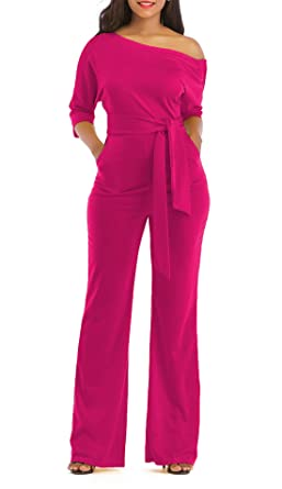 82cf65c0ce1689 Amazon.com: ONLYSHE Women Sexy One Shoulder Ruffle One Piece Bodycon Long  Pants Jumpsuit Rompers Rose Red Small: Clothing