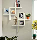SHELVING SOLUTION Set of 2 Reversed Criss Cross Wall Shelf (White)