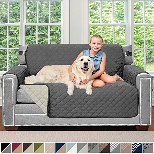 Sofa Shield Original Patent Pending Reversible Loveseat Protector for Seat Width up to 54 Inch, Furniture Slipcover, 2 Inch Strap, Couch Slip Cover Throw for Pets, Dogs, Love Seat, Charcoal Linen
