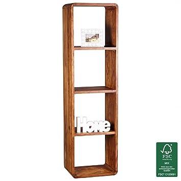 Wohnzimmermöbel holz massiv  FineBuy Bücherregal Massiv-Holz Sheesham 50 x 180 cm Wohnzimmer ...