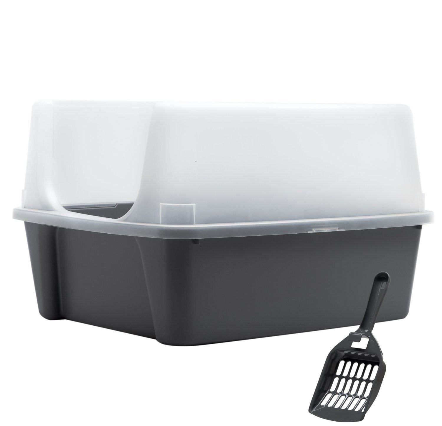 Clean Pet Cat Kitty Open Top Large Cats Litter Box with Shield and Scoop