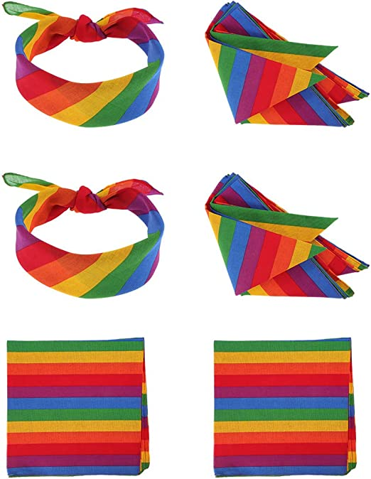 6pcs Auidy/_6TXD Rainbow Bandana Unisex Rainbow Stripe Headband Square Scarf for Party Celebration Supplies or Daily Wear