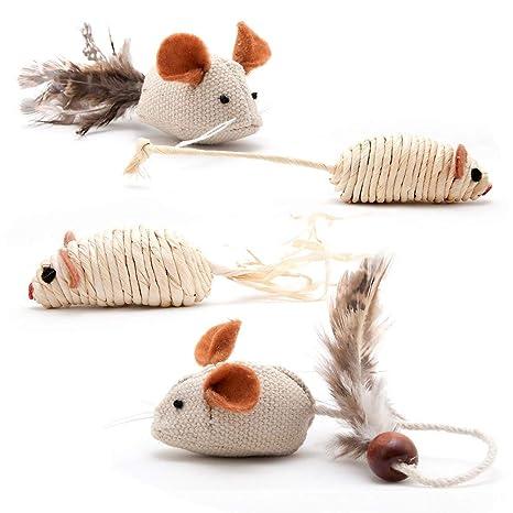 4yourpet 2022 – 4 Unidades Juego ratones, natural gato juguete de sisal, yute,