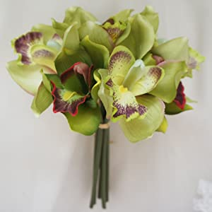 Lily Garden Mini 7 Stems Cymbidium Orchid Bundle Artificial Flowers (Green)