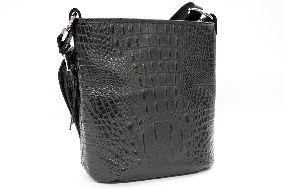 MoonStruck Leather Concealed Carry Purses - CCW Handbags Black Crocodile Leather - Made in the USA - Bucket by MoonStruckLeather