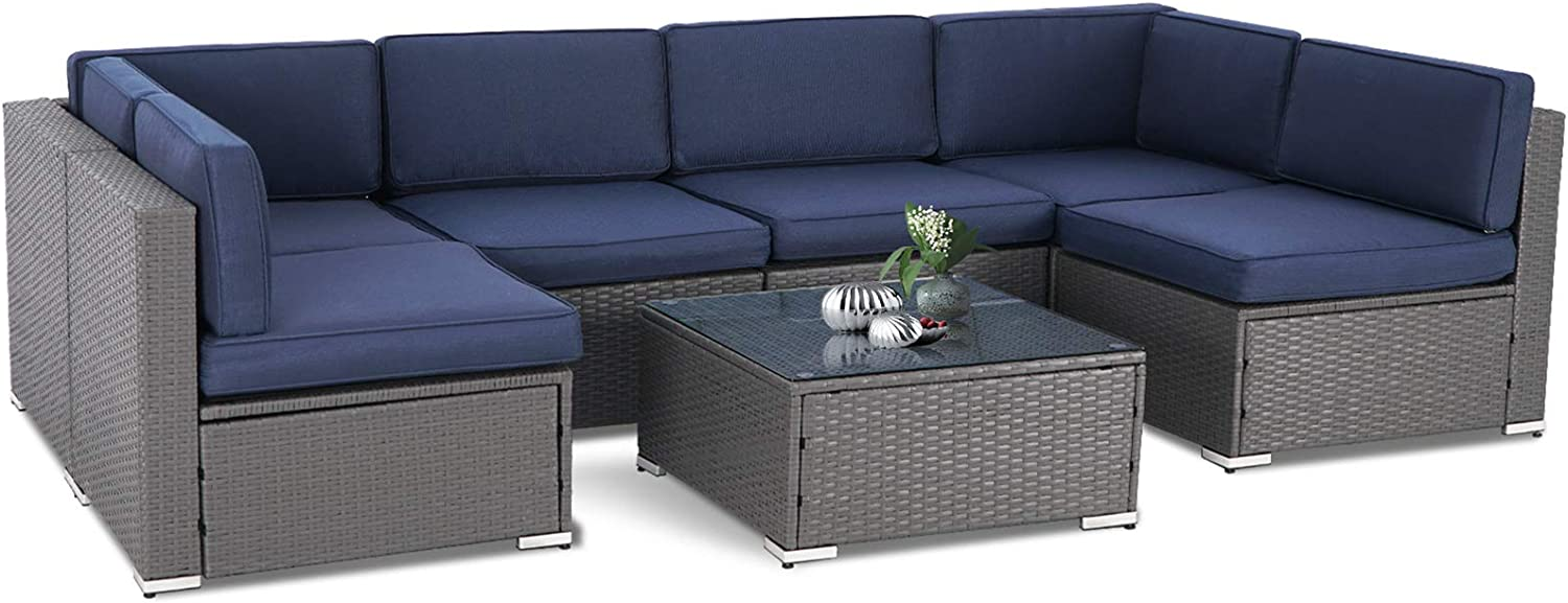 SUNCROWN Outdoor Patio Furniture 7-Piece Sofa Set Grey Wicker, Washable Seat Cushions with YKK Zippers and Modern Glass Coffee Table(Dark Blue Cushion)