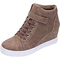 LILIHOT Frauen Winter Warme Ankle Stiefel Feste Erhöhen Keile Kurze Stiefel Booties Freizeitschuhe Zunehmende Keile Schuhe Kurze Stiefel Kurzschaft Casual Ankle Boot Runde Runde Schuhe