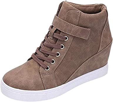 Sumeimiya Womens Platform Sneakers Hidden Wedges Slip On High Top Side Zipper Ankle Boots Casual Sporty Walking Shoes